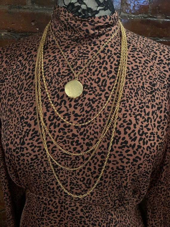 Mint condition 70s Multi Chain Golden Locket Statement Necklace, Chic Victorian Revival & Disco Stylish Fusion