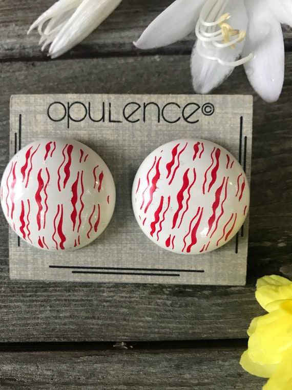 Awesome 80s Graphic Art Pop Art New Wave Red on White Button Style Post Earrings by Opulence, on Original Card