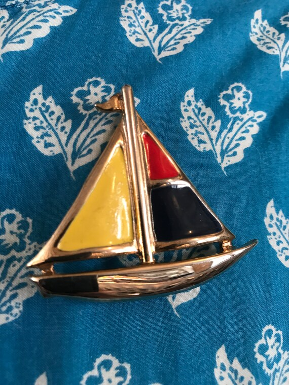 Mid Century Modern Primary Colors ENAMEL Colorblock SAILBOAT Pin