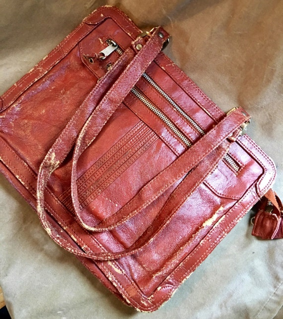 Super cool distressed vintage 70's NAS non leather Never Used soft brief case lap top bag