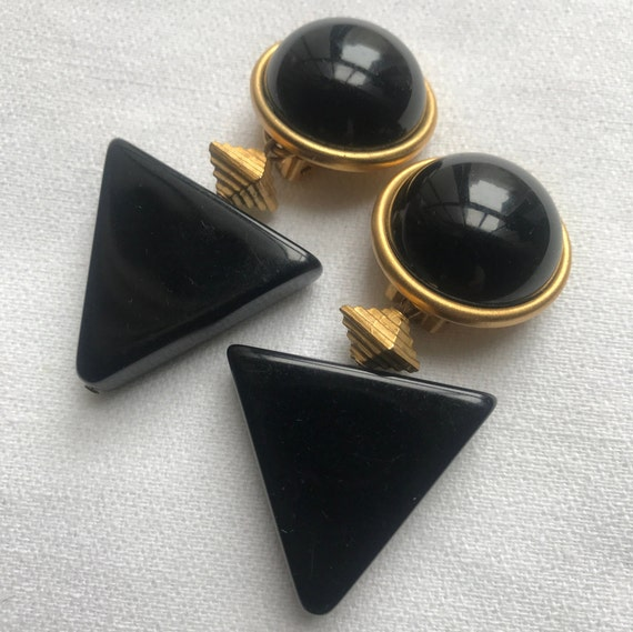 Sophisticated 80s Art Deco Geometric Black And Gold Architectural Dangle Earrings, Vintage Glamour Jewelry, Statement Earrings