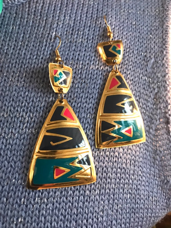 Amazing Vintage 80's Abstract Modern Tribal New Wave Enamel on Goldtone Dangle Earrings