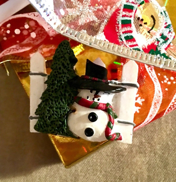 Festive Vintage Christmas snowman w/ picket fence & tree holiday pin brooch comes giftboxed and ribboned