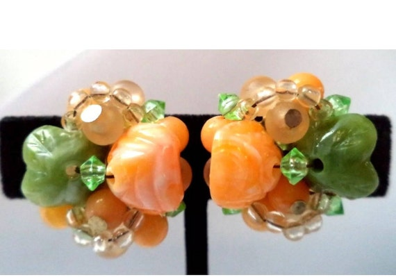 Mid Century HONG KONG Citrus Floral Cluster Bead Vintage Earrings, Clip ons, Spring Jewelry