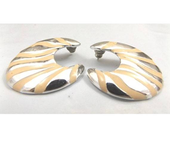 Vanilla Cream Enamel on Silvertone Zebra Print Vintage Earring, Awesome 80s Big Bold Glamour Jewelry, Sexy Jungle Print Earrings
