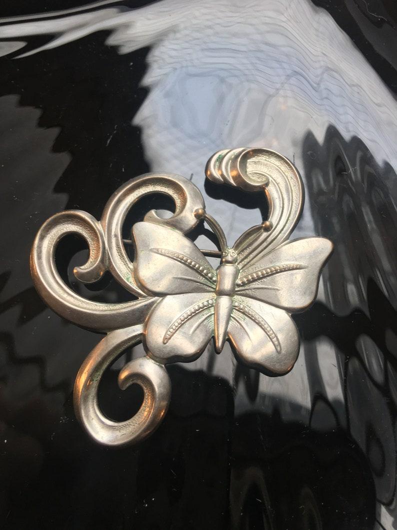 Silver Tone Pressed Metal Embossing /& Swirls Whimsical Art Nouveau Art Deco Butterfly Brooch Fantastic Now Trending Unisex Lapel Pin!