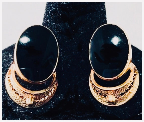 Van Dell NYC  Art Deco Onyx & 12k Gold Fill Filigree Vintage Screw Back Earrings , Hot Now Trending Designer Jewelry, Highly Collectible