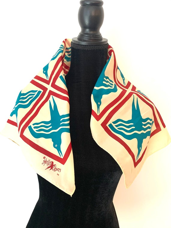 Stella Olson Bird Scarf, Mid Century Modern Graphic Accessory, Water Resistant Fabric made in Japan by D Klein and sons
