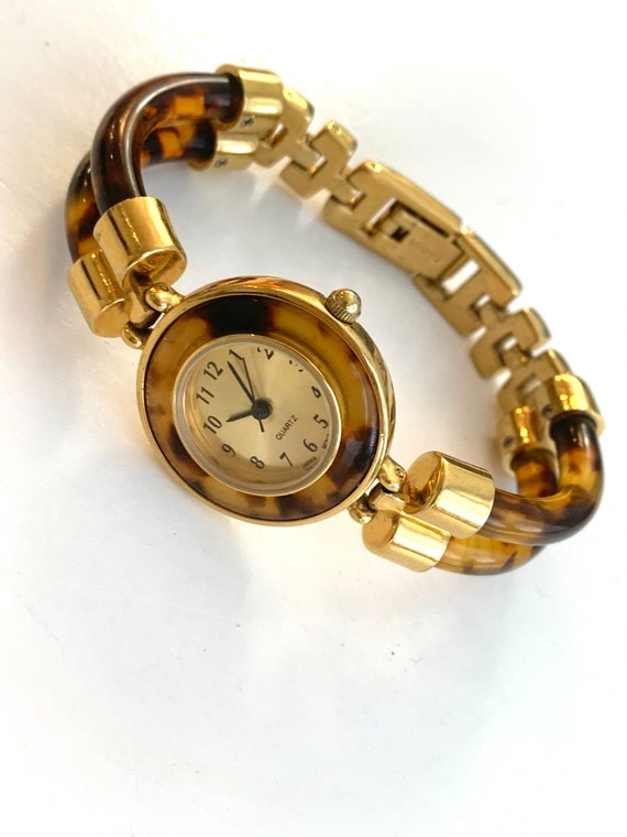 Vintage Avon Tortoise Bracelet Watch, Lucite and Gold told