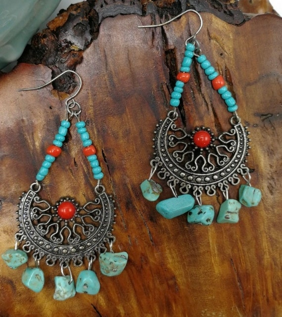 Vintage Boho Southwestern Tribal Turquoise Nugget & Red Coral Cabochon Chandelier Dangle Earrings