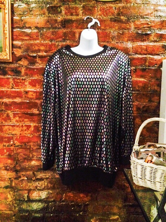 Shimmery Silver Disco Polka Dots on black oversized pullover Vintage 80s blouse with shoulder pads