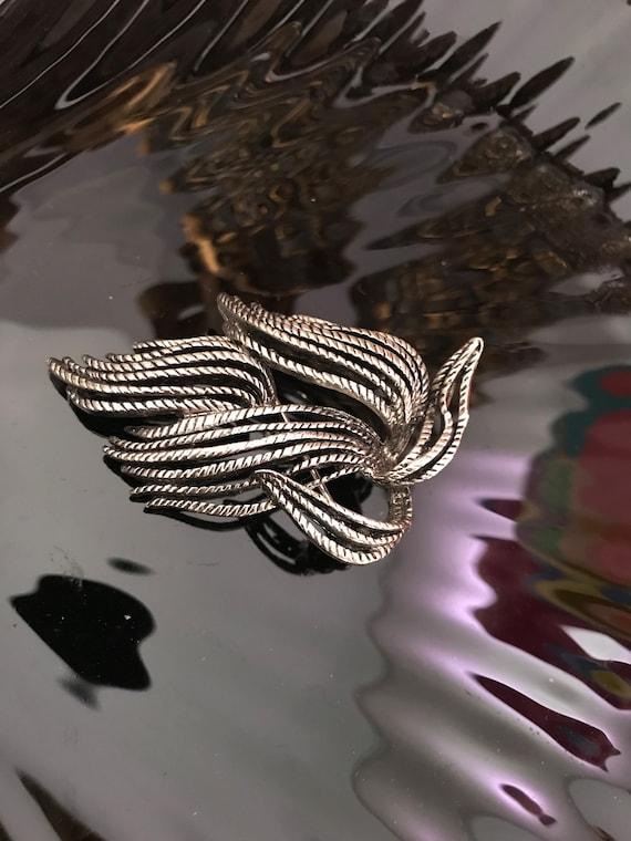 Unusual Avant Garde Modernist Pin is it a Bird or a Leaf, interpretive Art Vintage Brooch,  Artsy 70s or 80s Unisex Lapel Pin