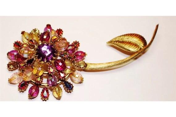 Huge 6+ inch Fantastic Vintage Pink AB Rhinestone & Goldtone Flower Brooch Pin