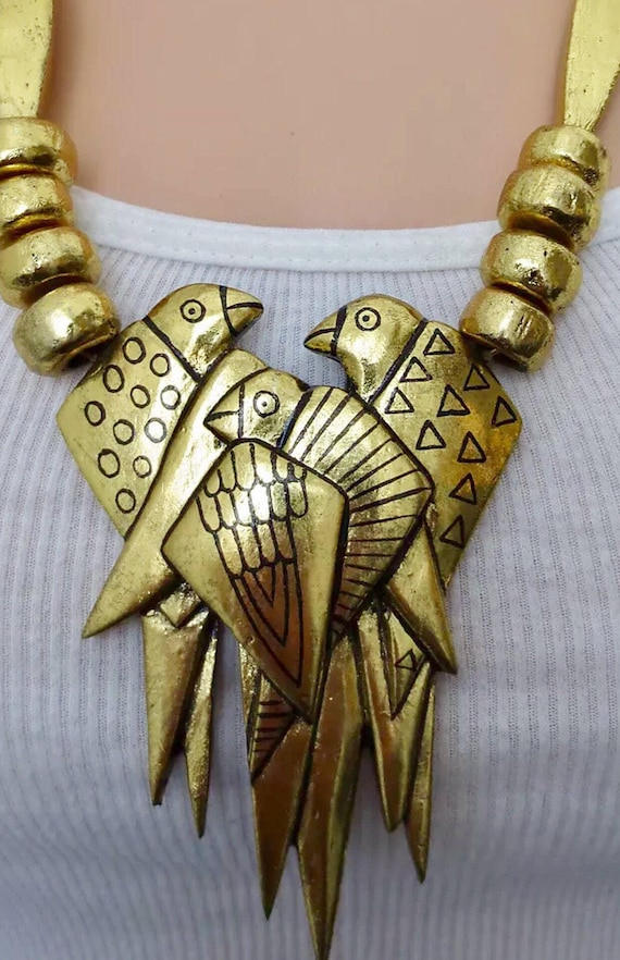 Absolutely Amazing Signed Laurel Burch 1992 24k Gold Painted Carved Wood FantasyParrots Runway Necklace show stoppper