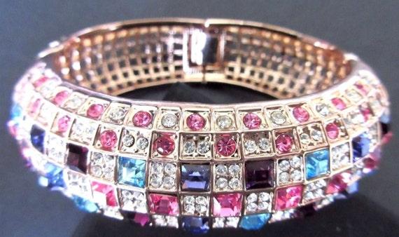 NEW 18k Rose Gold Plated Rainbow Checkered Austrian Crystal Runway Fashion Chic Bangle Bracelet