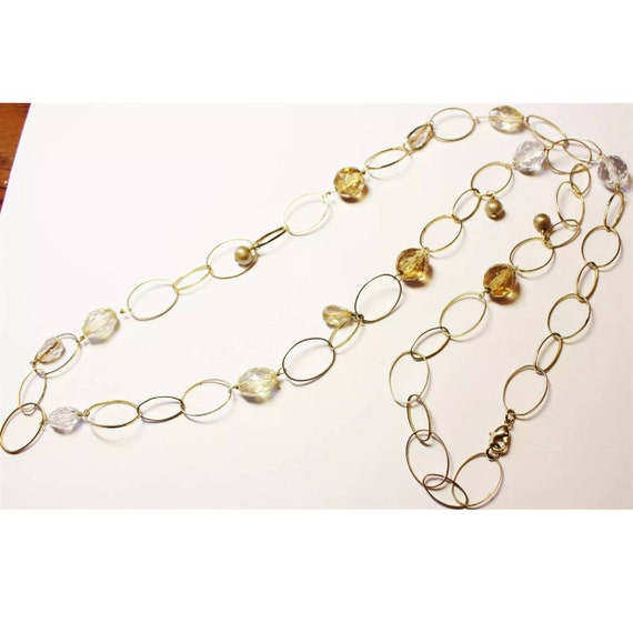 Beautiful Gold tone Gems Links Necklace