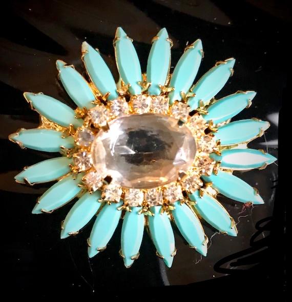 Sparkling Ice Crystal Gem Juliana Style Robins Egg Blue StarBurst Golden Lapel Pin, Hollywood Regency Glamour Jewelry Ornate Vintage Brooch