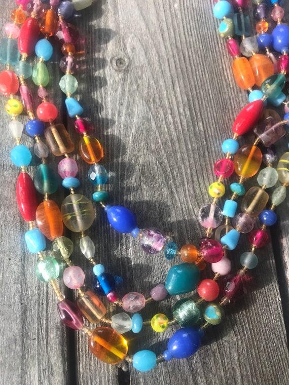 A Pretty Vintage Fancy Art Glass Rainbow Muilticolor 4 Strand Beaded Choker Necklace