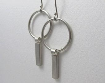 Sterling Silver Dangle Earrings, Modernist Earrings, Modernist Jewelry, Bar Hoop Earrings, Circle Bar Earrings, Heike Earrings