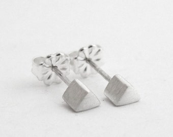 Minimal Studs, Simple Silver Studs, Mens Studs, Sterling Studs, Everyday Studs, Tiny Sterling Silver Studs,  Triangle Studs