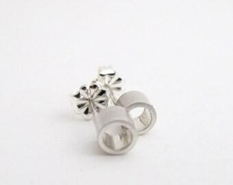 Silver Circle Stud Earrings, Sterling Silver Stud Earrings, Open Circle Studs, Everyday Earrings, Round Studs, Small Stud Earrings