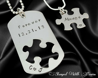 d506ad571b Unique Forever and Always Couples necklace set, Long distance relationship,  His and Hers Jewelry, Boyfriend girlfriend gift