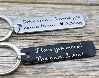 Drive Safe Customizable  Rectangle key chain Anniversary gift Best friend Boyfriend gift for Girlfriend New driver, Husband gift