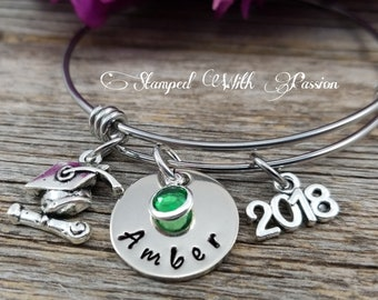Girl Graduation Gift Personalized Graduation Bracelet Class of 2018 Graduation Gift College Graduation Jewelry Gift for her Grad gift