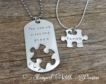 Puzzle piece jewelry etsy long distance relationship gift him and her couples jewelry you are my missing piece jewelry puzzle piece necklace aloadofball Gallery