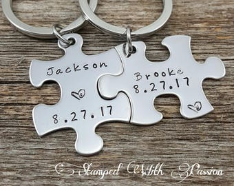 Couples Gift, Personalized Puzzle Pieces, His and Hers Keychains, Couples Anniversary, Love Keyrings, Valentines for Couples, Boyfriend gift