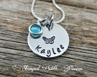 Butterfly Necklace • Little Girls Name Necklace • Small Girls Jewelry • Birthstone Necklace • Personalized Name • Birthday Gift• Child