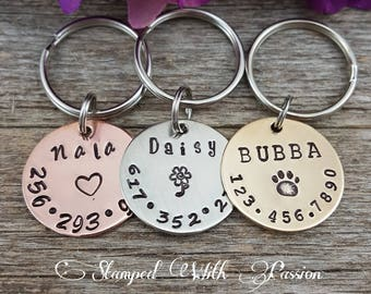 Dog Tag - Dog id Tag - Dog Name Tag - Hand Stamped - Paw Print Dog Tag - Dog tag for Collar - Pet id tag dog - Personalized tag - Custom Tag
