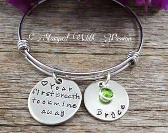 New Mom jewelry, Baby charm bracelet, Personalized birthstone name charm bracelet, Mommy Bracelet, Your first breath took mine away