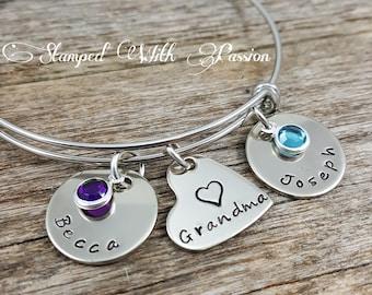 Personalized Grandma Bracelet, Grandma Jewelry, Christmas Gift for Grandma, Grandma Bangle, Gift for Grandma, Jewelry for Nana
