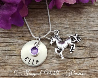 Unicorn Necklace Birthstone Necklace Personalized sister necklace Custom Jewelry little girl necklace gift for her silver jewelry Child Gift