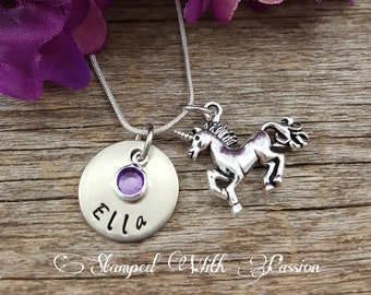 Unicorn Necklace Birthstone Necklace Personalized sister necklace Custom Jewelry little girl necklace gift for her Christmas Child Gift