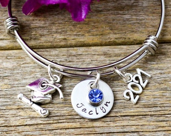 Personalized Graduation Bracelet, Graduation Gift for her  Class of 2021, 2022, 2023 Grad Gift College Graduation Jewelry High School