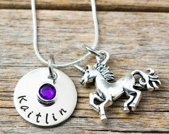 Unicorn Necklace Birthstone Necklace Personalized sister necklace Custom Jewelry little girl necklace gift for her Birthday Child Gift