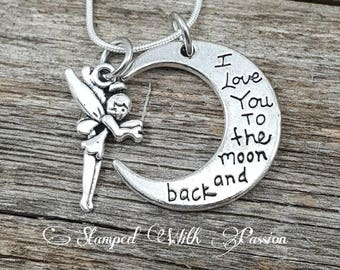 Cute I Love You to the Moon and Back Charm Necklace Daughter Gift  girls jewelry child necklace Fairy Granddaughter necklace