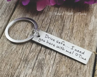 Drive Safe Customizable Hand St&ed Aluminum Rectangle key chain 10 year Anniversary gift Best friend Boyfriend gift Girlfriend New driver & Friend anniversary | Etsy