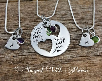Mother Daughter Necklace Set - Mother two 2 Daughters Jewelry Set of 3 - Mommy and Me - Mother Child Jewelry - Mother's