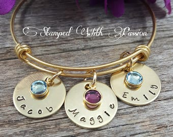 Name Bracelet Gold Mothers Bracelet Custom Hand Stamped Grandma Bracelet Birthstone Bracelet Bangle Bracelet Grandmother Gift for her mom