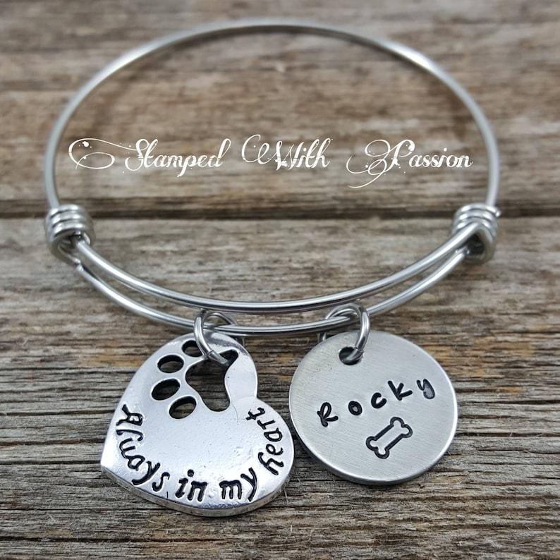 Pet Memorial bracelet personalized pet name charm bracelet image 0