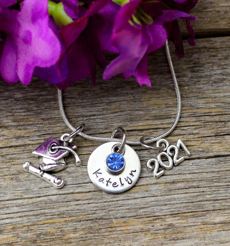 Graduation Necklace Personalized Girl Graduation Gift for her image 1
