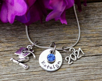 Graduation Necklace, Personalized Girl Graduation Gift for her Class of 2021, Class of 2022, 2021 Graduation Jewelry Graduate