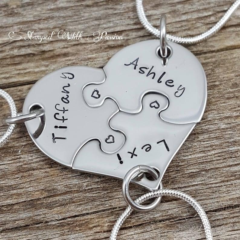841d088e57fb5 Best Friends, Forever 3 Piece Puzzle Necklace Set, Three Necklace Set, Best  Friend Jewelry, Customize-Sister Jewelry, Heart Puzzle Necklaces