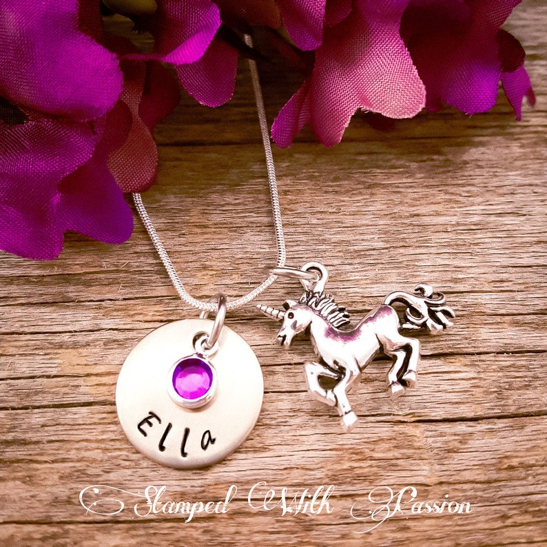Unicorn Necklace Birthstone Necklace Personalized sister image 0