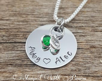 Personalized Mom Necklace-  Jewelry - Mommy Jewelry- Gift For Grandma- Hand Stamped Grandma Necklace