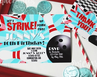 Bowling Party Invitation | Bowling Birthday Invitation | Bowling Printable Invitation | Bowling Birthday Decorations | Epic Parties by REVO
