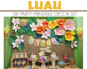 Luau Party Printable | Luau Party Decoration | Luau Birthday | Tiki Party | Luau Birthday Decoration | Epic Parties by REVO